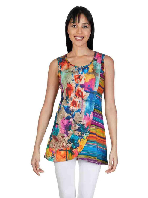 Parsley & Sage Colorful Abstract & Stripe sleeveless Asymmetrical Long jersey top