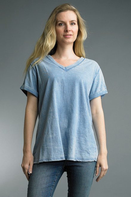 Tempo Paris Washed Cotton Short Sleeve V-Neck Relaxed Tee