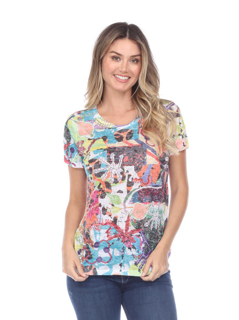 Inoah Colorful Abstract Crinkle Burnout Short Sleeve Top