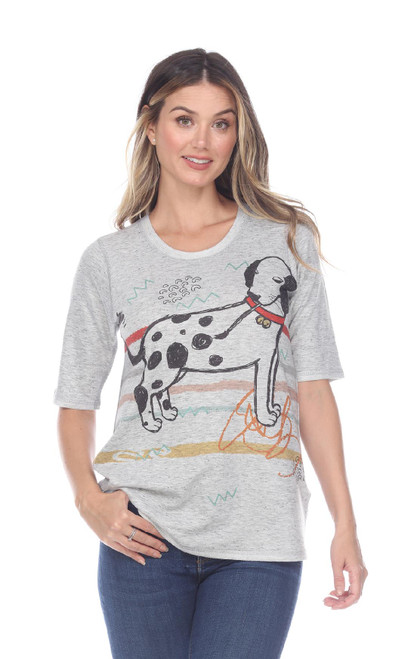 Inoah Pooch French Terry Short Sleeve Long Top