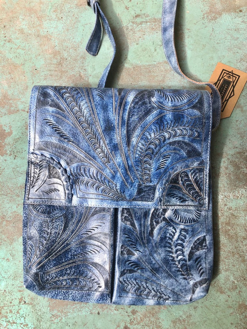Leaders in Leather Periwinkle Blue Classic Tooled Crossbody Purse with Flap