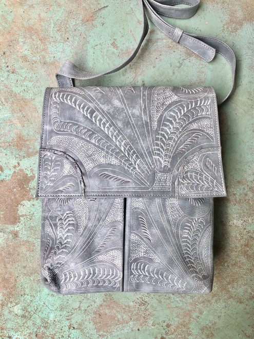 Leaders in Leather White Wash Classic Tooled Crossbody Purse with Flap