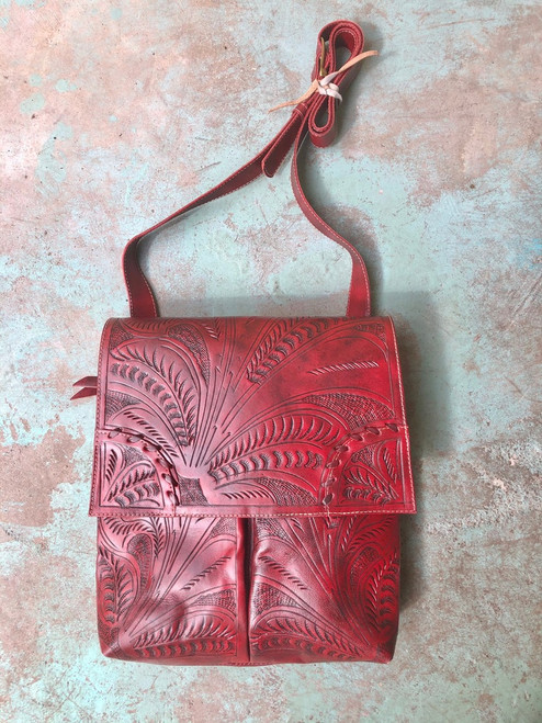 Leaders in Leather Oxblood Classic Tooled Crossbody Purse with Flap