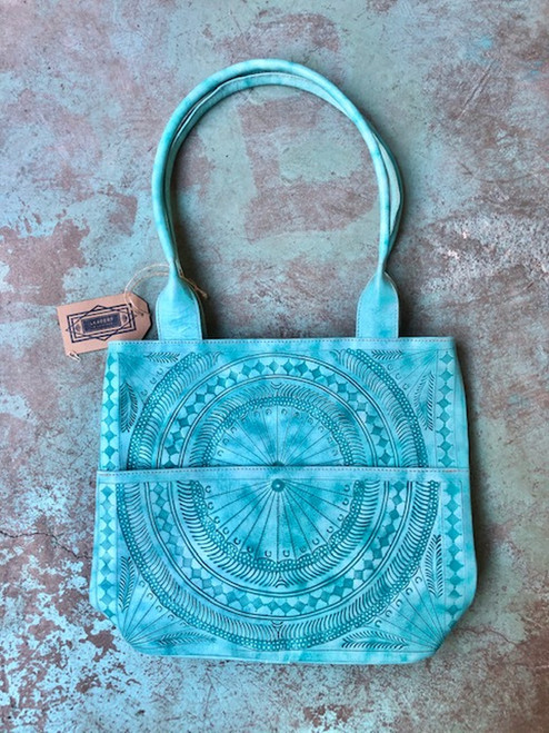 Leaders in Leather Teal Moroccan Hand Tooled Tote Bag with Storage