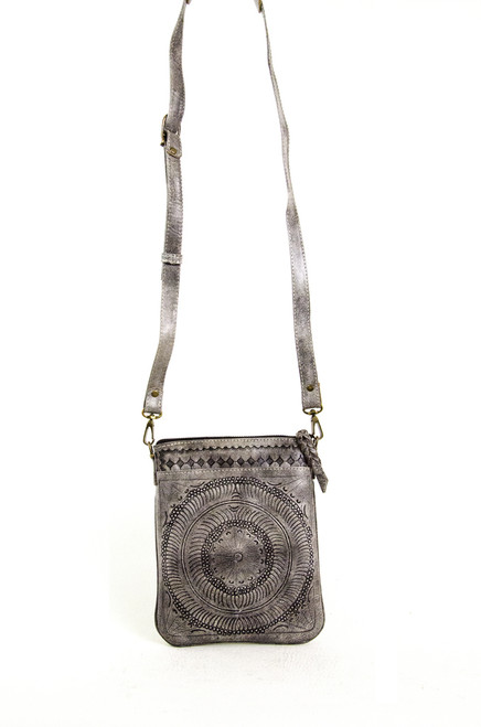 Leaders in Leather Slate Moroccan Small Crossbody Purse