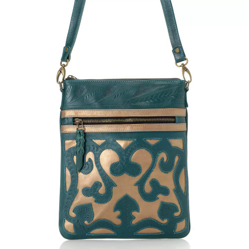 Leaders in Leather Turquoise Copper Hand Tooled  Scroll Cutout Skinny Crossbody Tote