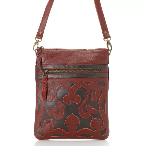 Leaders in Leather Red Walnut Hand Tooled Scroll Cutout Skinny Crossbody Tote