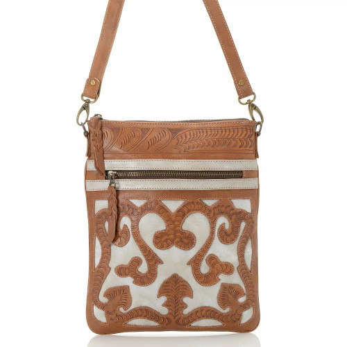 Leaders in Leather Natural Bone Hand Tooled Scroll Cutout Skinny Crossbody Tote