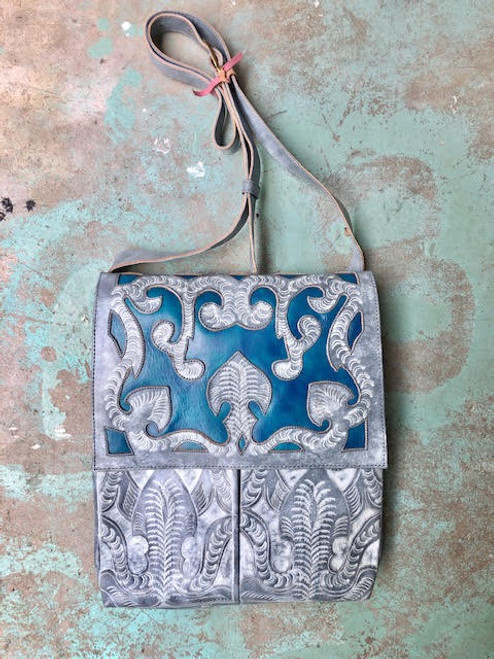 Leaders in Leather Whitewash & Denim Hand Tooled Crossbody Bag with Scroll Flap