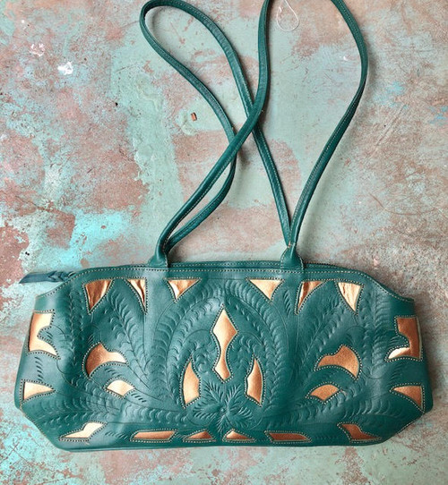 Leaders in Leather Turquoise & Copper Hand Tooled Classic Cutout Shoulder Bag