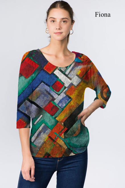 Et' Lois Hazy Colorful Abstract Geometric Soft Knit Top