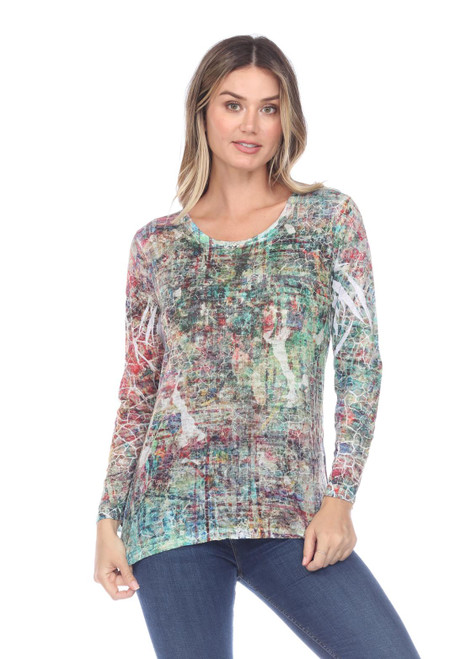 Inoah Colorful Stained Glass Crinkle Burnout Long Sleeve Top
