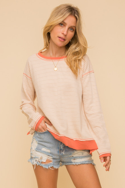 Hem & Thread Beige Stripe Cotton French Terry Long Sleeve Hi-Lo Relaxed Top