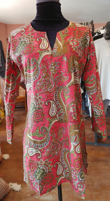 Dolma Red Paisley Cotton 3/4 Sleeve Red Tunic