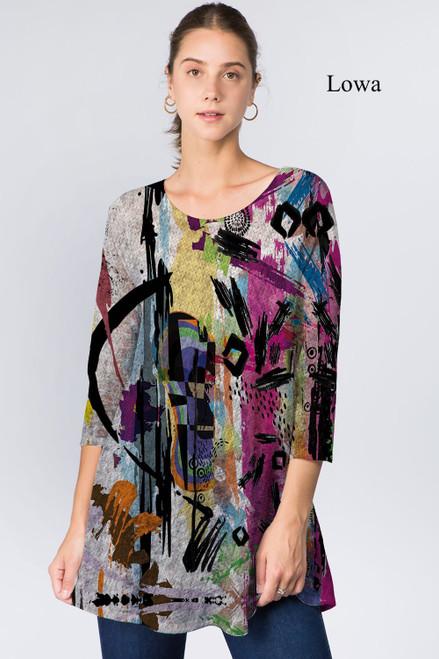 Et' Lois Hazy Vibrant Color Abstract Print Soft Knit Top