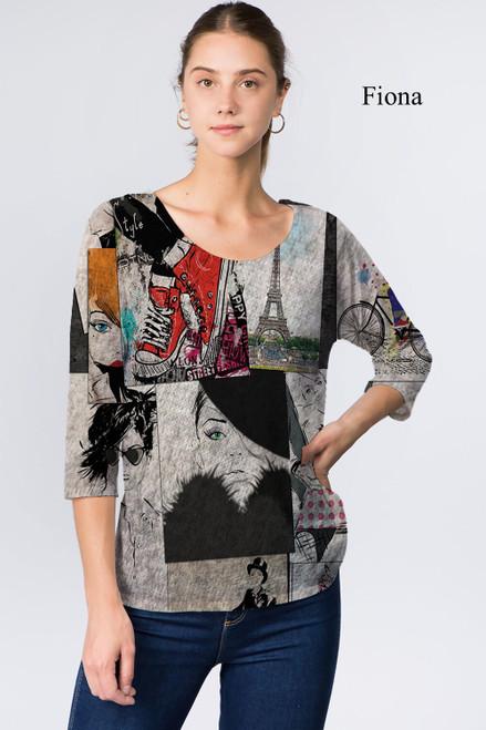 Et' Lois Hazy Parisian Print Soft Knit Top