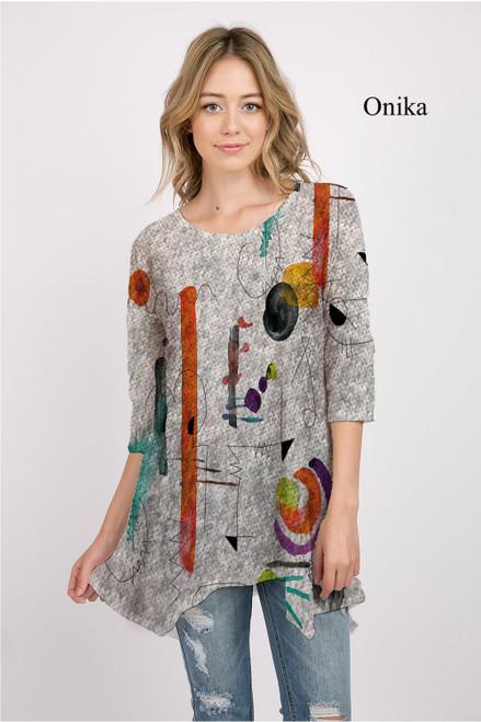 Et' Lois Hazy Squiggles & Lines Soft Knit Top