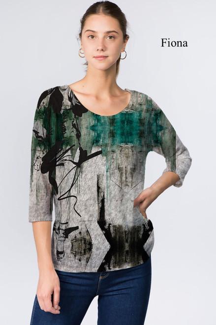 Et' Lois Hazy Winter Green Distress & Black Floral Soft Knit Top