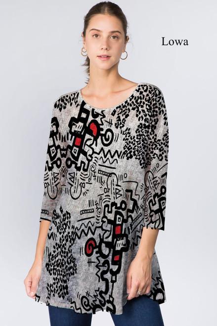 Et' Lois Hazy Thick Line Doodle Print Soft Knit Top