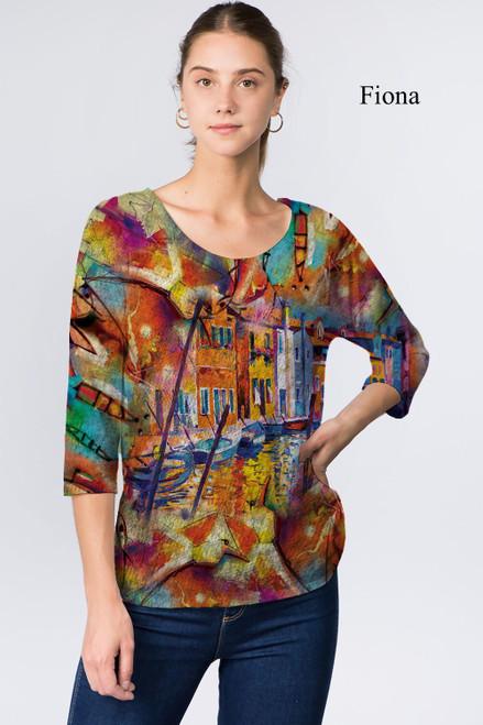 Et' Lois Hazy Colorful Venice Print Soft Knit Top