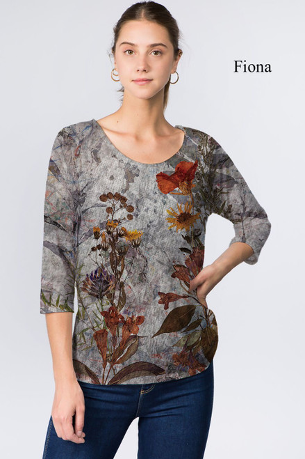 Et' Lois Hazy Grey Floral Print Soft Knit Top