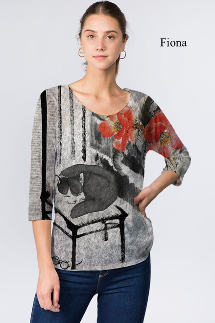 Et' Lois Hazy Napping Cat Print Soft Knit Top