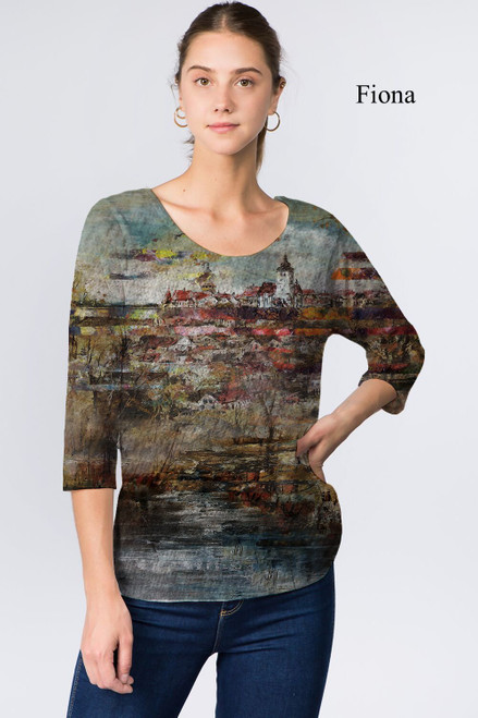 Et' Lois Hazy Countryside Painting Print Soft Knit Top