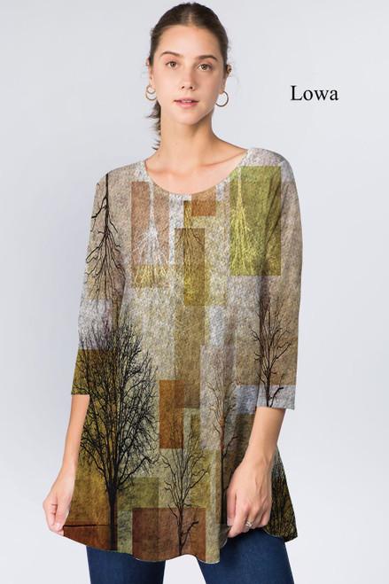 Et' Lois Hazy Brown Block Trees Print Soft Knit Top