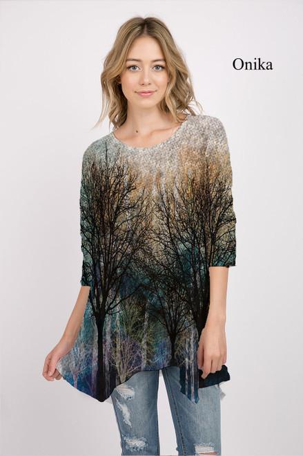 Et' Lois Hazy Bare Trees Print Soft Knit Top