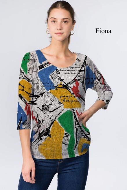 Et' Lois Hazy Colorful Paris Print Soft Knit Top
