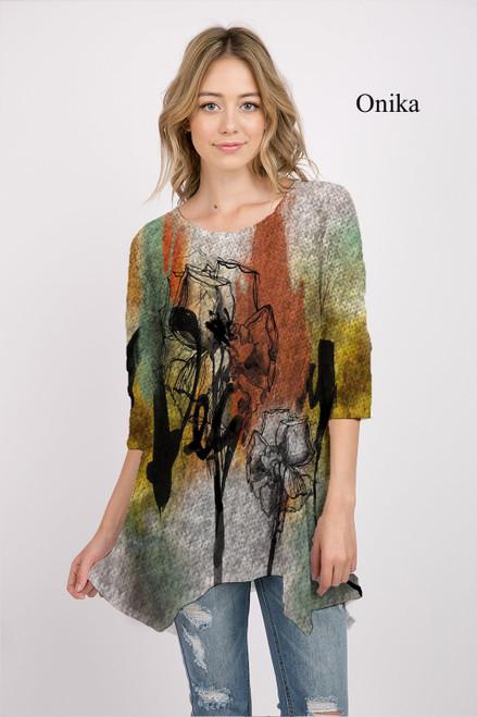 Et' Lois Hazy Autumnal Rose Print Soft Knit Top