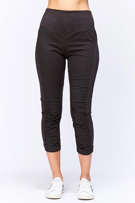 XCVI Black High Waisted Jetter Pant Ruching Slim Crop Pant