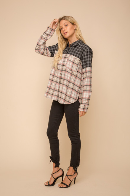 Hem & Thread Black and Taupe Flannel Plaid Button Down Long Sleeve Shirt