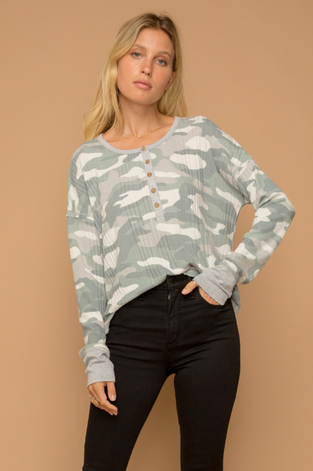 Hem & Thread Muted Camouflage Long Sleeve Henley Button Relaxed Rib Top