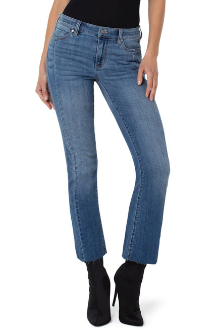 Liverpool Seamed Crop Flare 5-Pocket Jeans with Raw Cut Hem