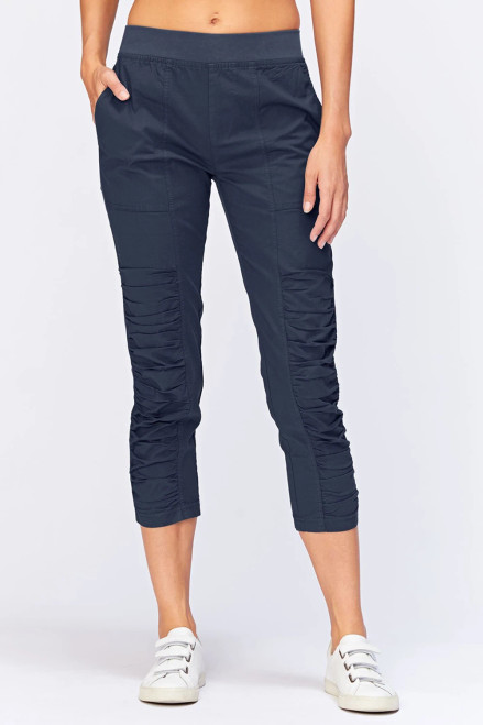 XCVI Navy Ruching Front Crop Pant with Pockets