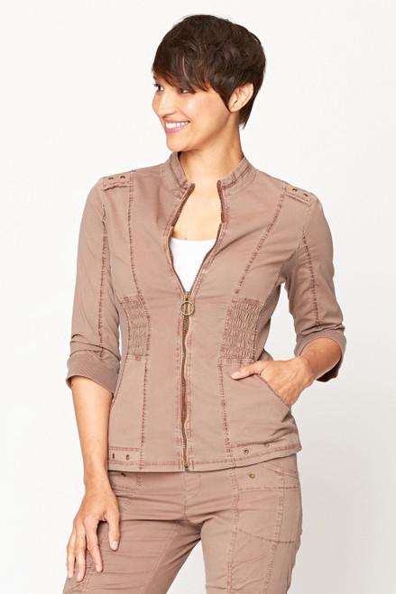 XCVI Cypress Bark 3/4 Sleeve Zip Up Smocking Detail Jacket with Pockets