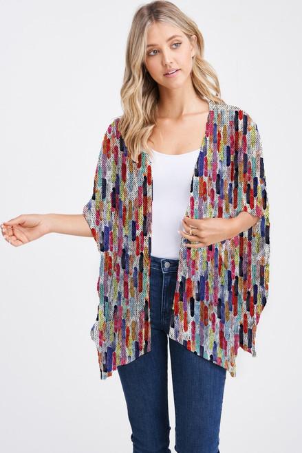 Et' Lois Hazy Multicolored Fingerpaint Print Soft Knit Open Wrap Shawl
