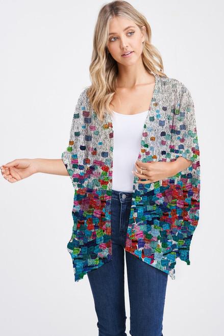 Et' Lois Hazy Colorful Paint Brush Gradient Print Soft Knit Open Wrap Shawl