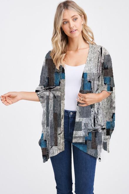 Et' Lois Hazy Blue White & Grey Soft Knit Open Wrap Shawl