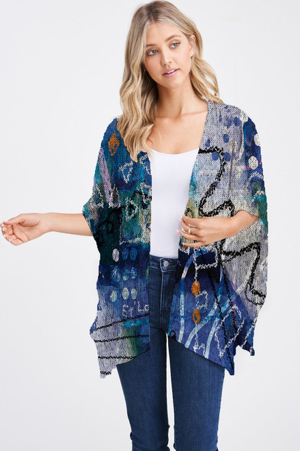 Et' Lois Hazy Abstract Chalk Drawing Soft Knit Open Wrap Shawl