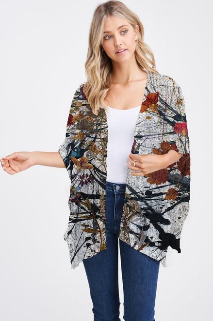 Et' Lois Hazy Colorful Floral Drizzle Background Soft Knit Open Wrap Shawl