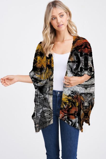 Et' Lois Hazy Orange & Yellow Flower Sketch Soft Knit Open Wrap Shawl