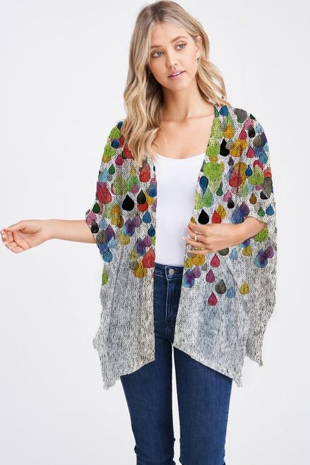 Et' Lois Hazy Colorful Raindrop Soft Knit Open Wrap Shawl