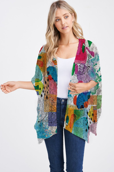 Et' Lois Hazy Asbtract Watercolor Stains Soft Knit Open Wrap Shawl
