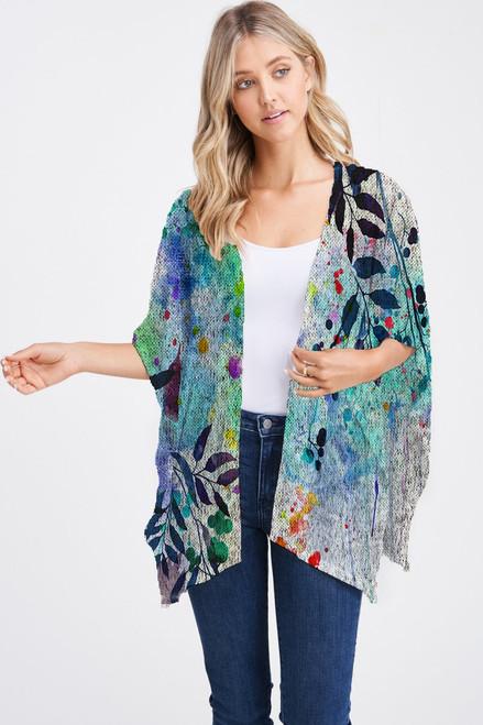 Et' Lois Hazy Blue Splatter Branch Print Soft Knit Open Wrap Shawl