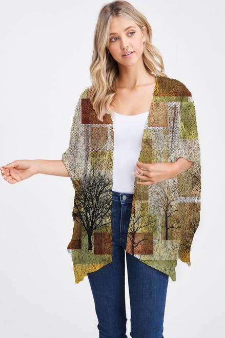 Et' Lois Hazy Brown Block Trees Print Soft Knit Open Wrap Shawl