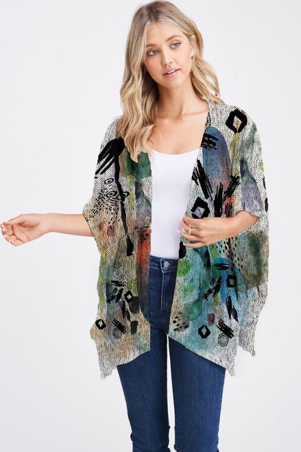Et' Lois Hazy Colorful Watercolor & Black Sketching Soft Knit Open Wrap Shawl