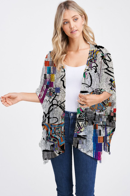 Et' Lois Hazy Colorful Gears & Flowers Abstract Doodle Soft Knit Open Wrap Shawl