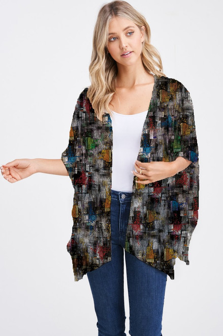 Et' Lois Hazy Multicolored Crosshatch Pattern Soft Knit Open Wrap Shawl